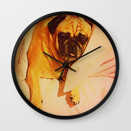 PUG LOVE: Will you bring me breakfast in bed? Wall Clock