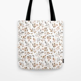 Watercolor brown fall autumn leaves floral Tote Bag