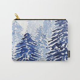 A snowy pine forest Carry-All Pouch