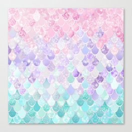 Cute Mermaid Pattern, Light Pink, Purple, Teal Canvas Print