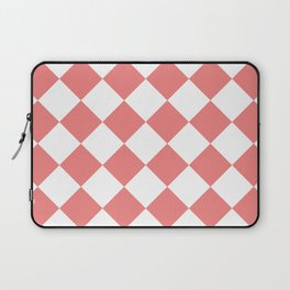 Large Diamonds - White and Coral Pink Laptop Sleeve