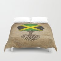jamaica Duvet Covers featuring Vintage Tree of Life with Flag of Jamaica by Jeff Bartels