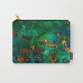 Emerald And Blue Glitter Marble Carry-All Pouch