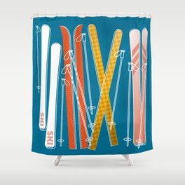 Colorful Ski Pattern Shower Curtain