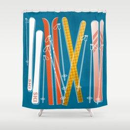 Colorful Ski Pattern Shower Curtain