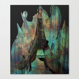 Eiffel Tower Paris Dark Copper Patina Texture Canvas Print