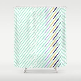 Green Drops of Time Shower Curtain