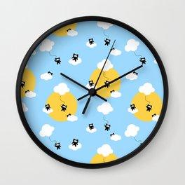 Ninja cats in the sky pattern Wall Clock