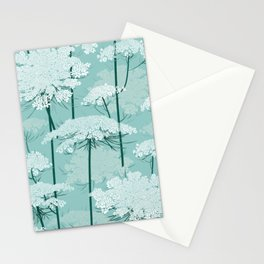Queen Annes Lace Romance Pattern | Light Mint Stationery Cards