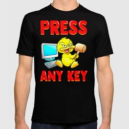 Press Any Key Funny Duck With Mallet Computer Design T-shirt