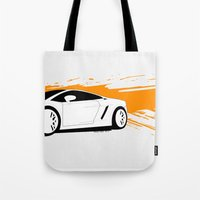 lamborghini Tote Bags featuring Lamborghini Gallardo Vector   by Kaivan Askari
