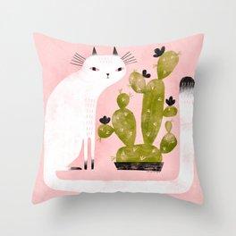 CAT & CACTUS Throw Pillow