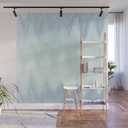 Modern geometrical pastel blue mint green watercolor ikat Wall Mural
