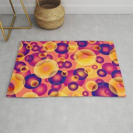 psychedelic golden and pink shiny spheres floating in the space digital graphic design Rug