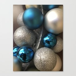 Holiday Blue and Silver Glitter Ornaments Canvas Print