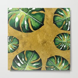 Tropical Leaves on the Golden Sand Metal Print