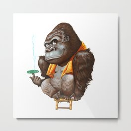 A gorilla relaxing after taking bath Metal Print