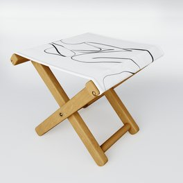Female Figure Line Art Folding Stool