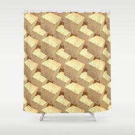 3d Cubes_Woodblocks Shower Curtain