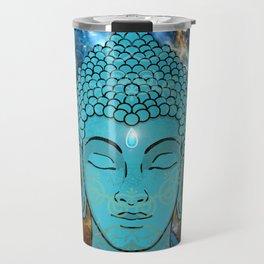 Blue Face of Buddha in the Galaxy Travel Mug