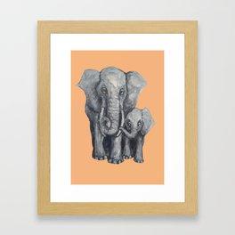 Elephant Parent and Calf (light terracotta) Framed Art Print