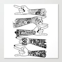 rock and roll Canvas Prints featuring rock & roll  by jun salazar