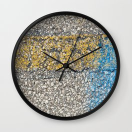 Urban Texture Photography - Yellow and Blue Painted Asphalt Wall Clock