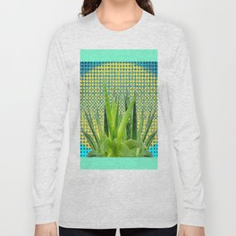 MODERN ALOE VERA SUCCULENT OPTICAL ART Long Sleeve T-shirt