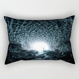 Glacial Ice Cave in the Mountains - Landscape Photography Rectangular Pillow