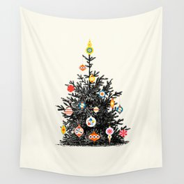Retro Decorated Christmas Tree Wall Tapestry