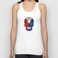 philippines Tank Tops featuring Sugar Skull with Roses and Flag of Philippines by Jeff Bartels