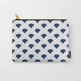 Blue and white Japanese style geometric pattern Carry-All Pouch