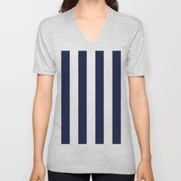 Simply Vertical Stripes in Nautical Navy Blue Unisex V-Neck