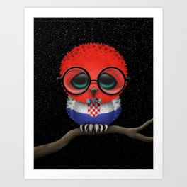 Baby Owl with Glasses and Croatian Flag Art Print