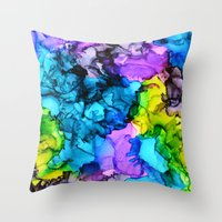 mermaids Throw Pillows featuring Mermaids by Claire Day