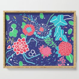 Flowers and Cactus Serving Tray