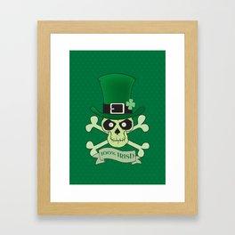 100% Irish.Green lucky irish skull Framed Art Print