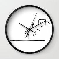 basketball Wall Clocks featuring basketball usa basketball player by Lineamentum