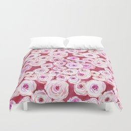 ROSIE VIEW Red Watercolor Roses Duvet Cover