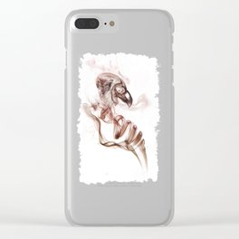 Smoke skull in white Clear iPhone Case