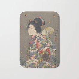Japanese Art Print - Woman and Fireflies Bath Mat
