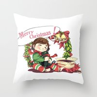 hiccup Throw Pillows featuring Merry Christmas from Hiccup and Toothless by Clgtart