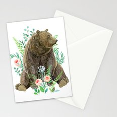 bear sitting in the forest Stationery Cards