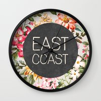 tupac Wall Clocks featuring East Coast by Text Guy