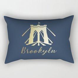 Brooklyn Bridge in Gold Rectangular Pillow
