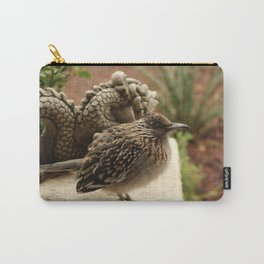 Closeup of Cold Fluffed Up Road Runner by Dragon Carry-All Pouch