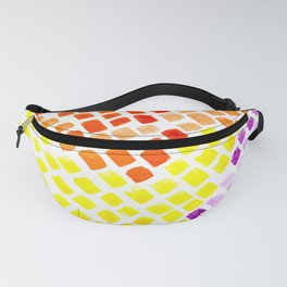 Heat Watercolor Tiles Mosaic Square Colourful Abstract Art Fanny Pack
