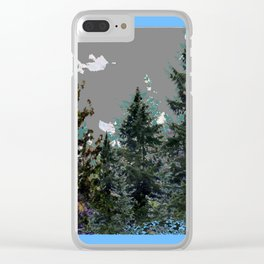 BABY BLUE WESTERN PINE TREES  LANDSCAPE Clear iPhone Case