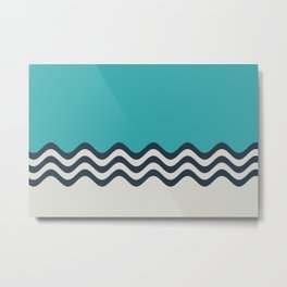 Aqua, Alabaster and Navy Blue Wavy Horizontal Stripes Line Minimal Pattern 3 - Aquarium SW 6767 Metal Print