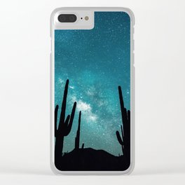 BLUE NIGHT SKY MILKY WAY AND DESERT CACTUS Clear iPhone Case